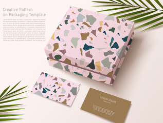 Terrazzo Pattern on Packaging Template : Gift Box and Business Card : Vector Illustration