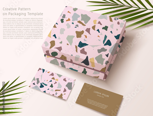 Terrazzo pattern on packaging template gift box and business card terrazzo pattern on packaging template gift box and business card vector illustration reheart Image collections