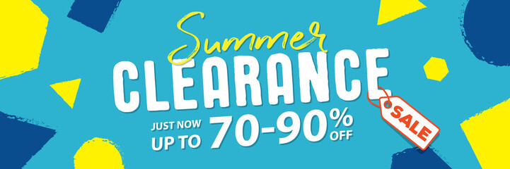 Summer clearance 70 to 90 percent off Banner vector heading design fun style for banner or poster. Sale and Discounts Concept.