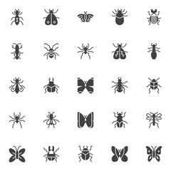 Insects and bugs vector icons set, modern solid symbol collection, filled style pictogram pack. Signs, logo illustration. Set includes icons as moth, flea, cockroach, tick animal, wasp, beetle, fly