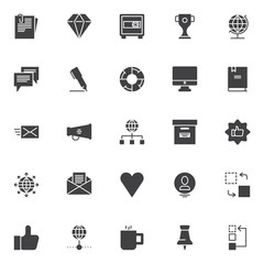 Universal business vector icons set, modern solid symbol collection, filled style pictogram pack. Signs, logo illustration. Set includes icons as Document paper clip, Diamond, Safebox, Trophy cup