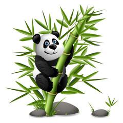 Smiling cartoon panda hanging on bamboo. Vector clip art illustration.