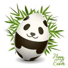 Easter egg panda. Vector clip art illustration.