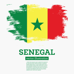 Senegal Flag with Brush Strokes.