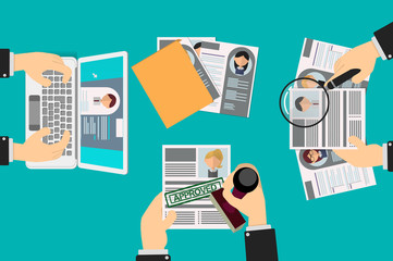 selection of resumes by a human resources team, a recruiter approves one of them with a rubber stamp, others looks with a magnifying glass and a computer
