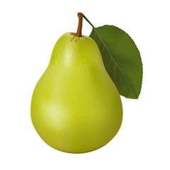 Green pear with a leaf isolated on white background. Ripe fruit.