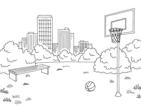 Street sport basketball graphic black white city landscape sketch illustration vector