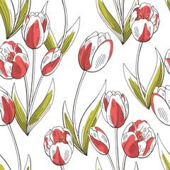 Tulip flower graphic red green color seamless pattern sketch illustration vector