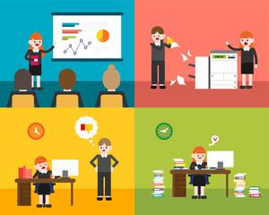 working hard business people in office vector flat design illustration set