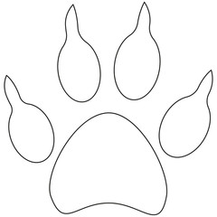 Line art dog paw footprint icon poster.