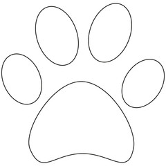 Line art cat paw footprint icon poster.