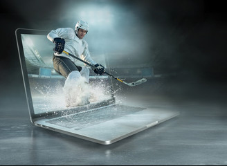 Caucassian ice hockey Players in dynamic action in a professiona