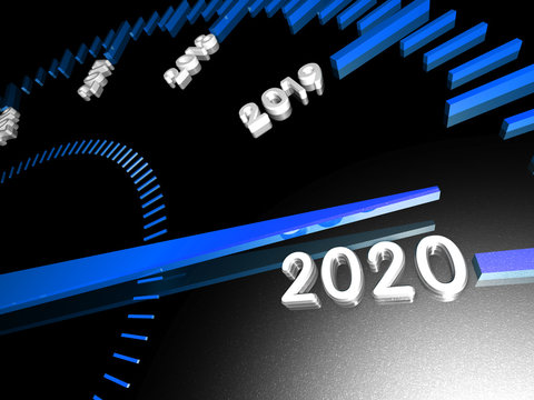 Conceptual 2020 New Year Speedometer on a black background. 3d Rendering