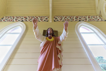 Jesus Christ staue , the symbol of Christianity , in the church in New Zealand