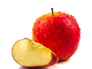 Red apple isolated in white background and clipping path.