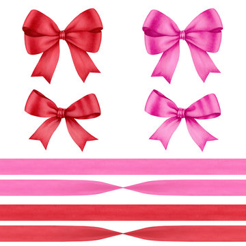 Watercolor bows and ribbons isolaed on white background