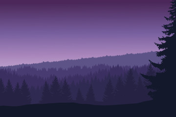 Vector landscape with forest and trees under the morning sky