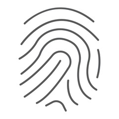 Finger print thin line icon, development and business, branding sign vector graphics, a linear pattern on a white background, eps 10.