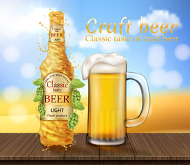 Vector realistic light beer splashing, swirling. Promotion banner with glass of frothy alcoholic drink on wooden table with hop on field background. Mockup for ad, poster.