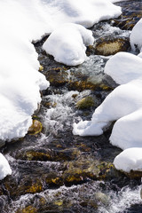 mountain river snow