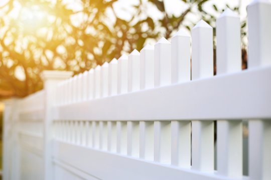 White picket or fence ready made for installed around the house.