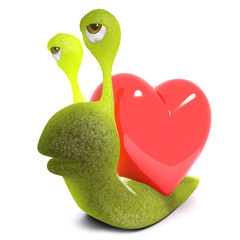 3d Funny cartoon snail bug character carrying a heart instead of a shell