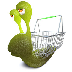 3d Funny cartoon snail bug character carrying a shopping basket