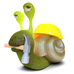 3d Funny cartoon snail bug character wearing a hard hat and holding a hammer