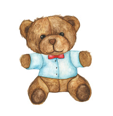 Hand drawn watercolor illustration of teddy bear. Design element for cards, invitations