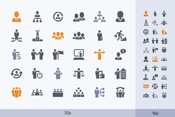 Business People - Carbon Icons. A set of 30 professional, pixel-perfect icon designed on a 32x32 pixel grid.