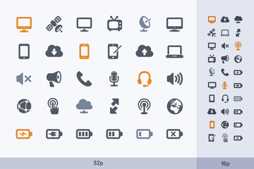 Communication & Technology - Carbon Icons. A set of 30 professional, pixel-perfect icon designed on a 32x32 pixel grid.