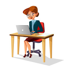 Vector cartoon business woman in corporate suit glasses heels sitting at workplace desk typing at laptop computer. Female employee manager secretaty character smiling. Isolated background illustration