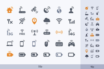 Wireless Technology - Carbon Icons. A set of 30 professional, pixel-perfect icon designed on a 32 x 32 pixel grid.