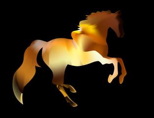 Fiery silhouette of an Arab stallion. red horse runs on fire
