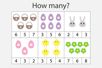 How many counting game with easter pictures for kids, educational maths task for the development of logical thinking, preschool worksheet activity, count and choose the answer, vector illustration