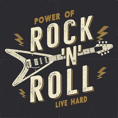 Vintage Hand Drawn Rock n Roll Poster, Rock Music Poster. Hard Music Tee Graphics Design. Rock Music T-Shirt. Power of Rock n Roll quote. Stock vector retro wallpaper, emblem.