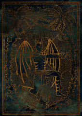 Zodiac sign Sagittarius on blue grunge texture background. Hand drawn fantasy graphic illustration in frame
