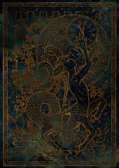 Zodiac sign Capricorn on blue grunge texture background. Hand drawn fantasy graphic illustration in frame
