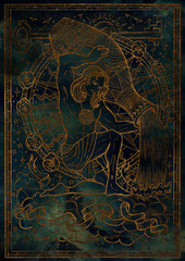 Zodiac sign Aquarius on blue grunge texture background. Hand drawn fantasy graphic illustration in frame