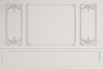 Classic interior wall with mouldings.Digital illustration.3d rendering Wall mural