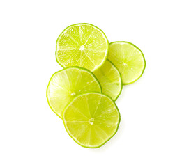 slices of lemon isolated on white