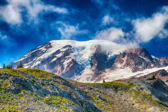 Beautiful Mt Rainier on a blue summer sky