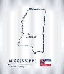 Mississippi vector chalk drawing map isolated on a white background