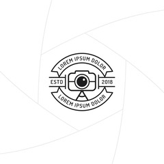 Photographer badge or label design, Logo for studio and videographer with camera symbol. Photography logo template