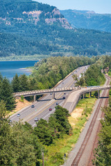 Historic Columbia River Highway aerial view, Oregon - USA