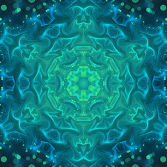 Green fractal swirly pattern, digital artwork for creative graph