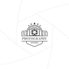 Photography studio badge or label design, Logo for studio and photographer or videographer with camera symbol. Photography logo template