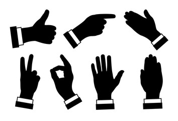 silhouettes of hands, different signs and symbols, black image on white background