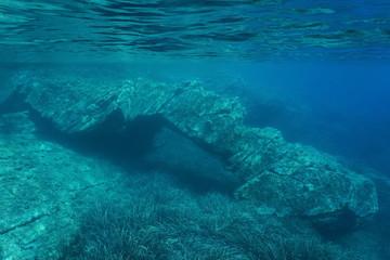 Natural rock formation below water surface in the Mediterranean sea, Catalonia, Cap de Creus, Costa Brava, Spain