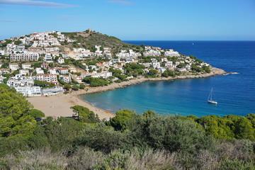 Türaufkleber Khaki Spain Costa Brava, Cala Montgo bay in l'Escala town, Catalonia, Alt Emporda, Girona, Mediterranean sea